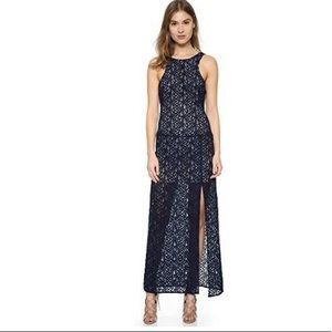 Free People Long Dress Blue Lace Overlay